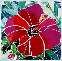 flower,hibiscus,glass,garden,tropical,floral,florida,red,mosaic