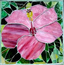 hibiscus,floral,tropical,mosaic,flower,pink,glass,garden