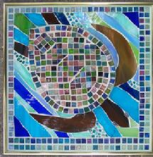 sea turtle,beach,ocean,turtle,stained glass,mosaic