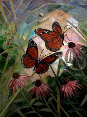 butterfly,butterflies,garden,flowers,cone flowers,mosaic,stained glass,insects,,