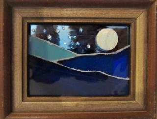 blue,mountain,moon,fullmoon,stars,night,glass,stained glass,miniature,mosaic