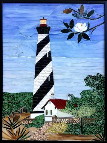 mosaic, stained glass, lighthouse, coast, beach, magnolia,stained glass, St. Augustine