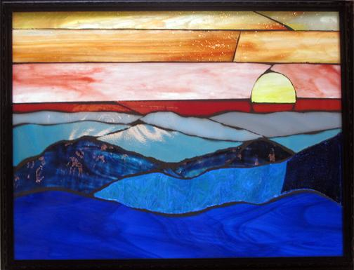 blue,mountain,moon,sunset,orange,sky,fullmoon,stars,night,glass,stained glass,miniature,mosaic